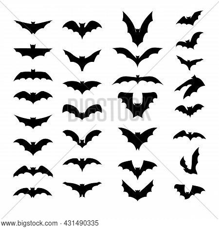Set Of Black Silhouettes Of Bats Isolated On White Background. Collection Of Flittermouse Icons. Tat