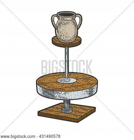 Potter Wheel With Pot Color Sketch Engraving Vector Illustration. T-shirt Apparel Print Design. Scra