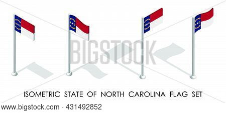 Isometric Flag Of American State Of North Carolina In Static Position And In Motion On Flagpole. 3d