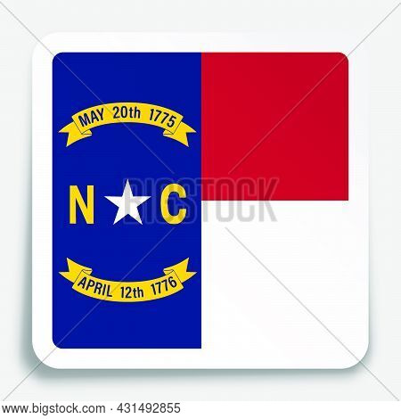 American State Of North Carolina Flag Icon On Paper Square Sticker With Shadow. Button For Mobile Ap