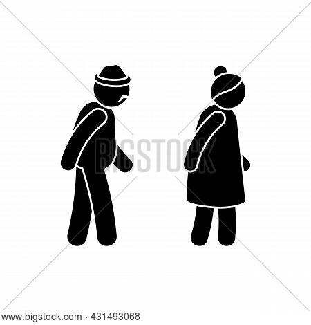 Grandparent Stick Figure Old Man And Woman Vector Illustration Set. Grandad And Grandmother Walking
