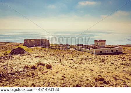 Seascape With Coastal Fortification, Castle Guardias Viejas, Almeria Province, Andalusia Spain. Tour