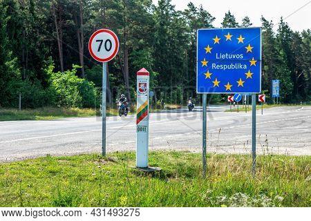 Lithuania EU country border sign