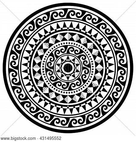 Polynesian Geometric Mandala Vector Pattern, Hawaiian Tribal Design With Waves And Geometric Ornamen