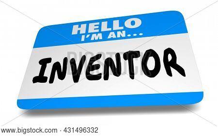 Inventor Name Tag New Idea Dreamer Thinker Creator Dreamer 3d Illustration