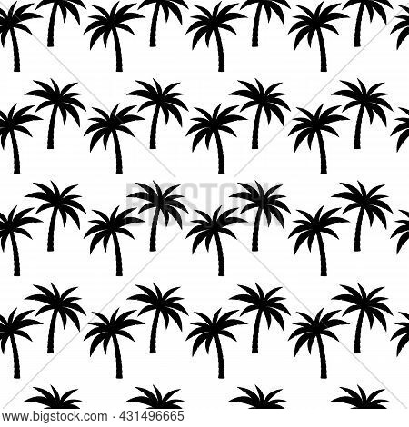 Palm Trees Background. Seamless Pattern With Coconut Palm Trees In Black And White.