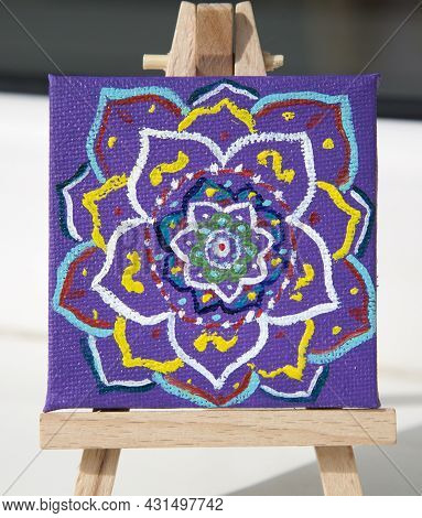 Mandala Painted With Multi-colored Oil Paints On Canvas