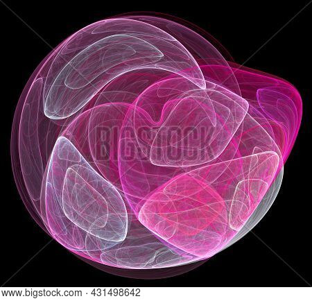 The Magenta And White Airy Rounded Elements Are Beautifully Layered Against A Black Background. Grap