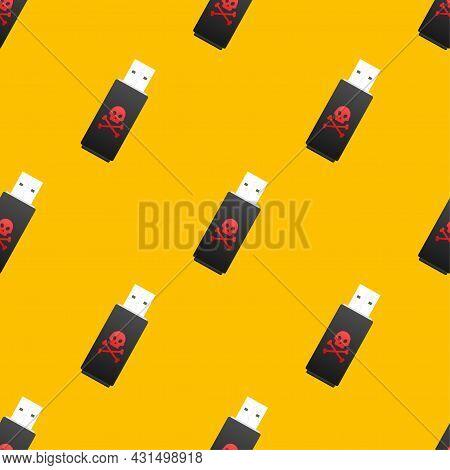 Computer Virus On Usb Flash Card Pattern. Virus Protection. Vector Stock Illustration.