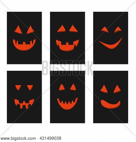 Halloween Pumpkin Face Jack-o-lantern On Black Greeting Cards.