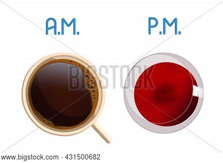 Coffee In The Morning And Wine In The Evening Are Seen In This 3-d Illustration.