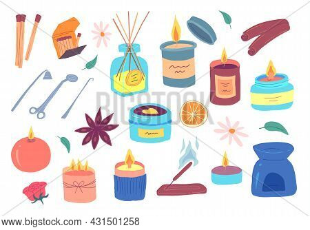 Cartoon Color Various Candles Icons Set Flat Design Style. Vector Illustration Of Wax Candle In Glas
