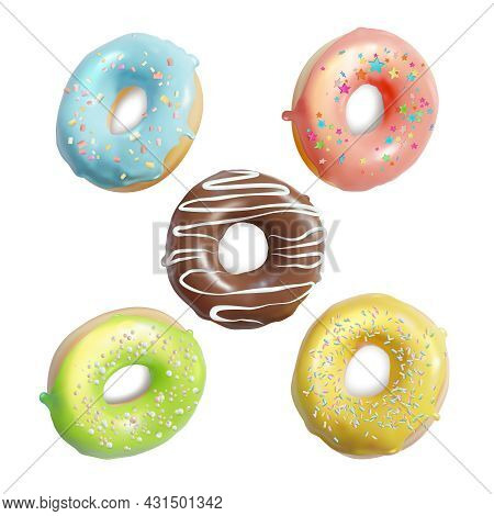 Realistic Detailed 3d Different Glazed Colored Donuts Set Cafeteria Or Coffee Shop Food, Snack. Vect