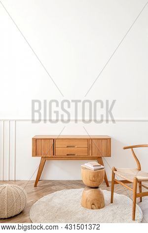 Wooden sideboard table and a wooden stool in the living room