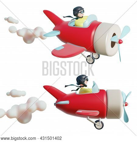 Realistic Detailed 3d Plasticine Different View Pilot Toy Airplane Set. Vector Illustration Of Littl