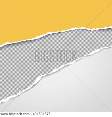 Torn, Ripped Yellow, Grey And White Paper Strips With Soft Shadow Are For Text. Vector Illustration