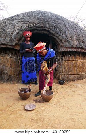 Zulu woman in traditional closes in Shakaland Zulu Village, South Africa