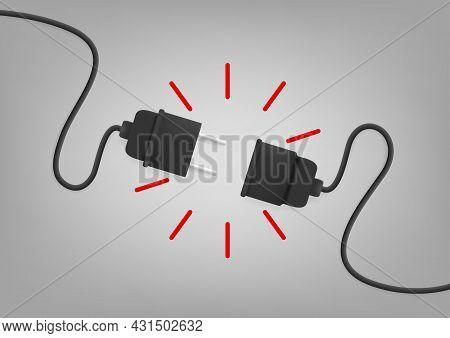 3d Electric Plug Socket Disconnect Error Concept