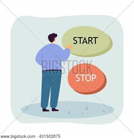 Man Standing In Front Of Huge Start And Stop Buttons. Male Character Pushing Button, Making Decision