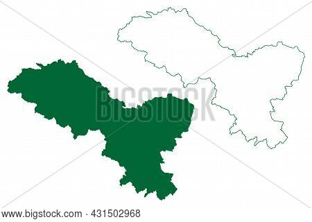 Leh District (ladakh Union Territory, Republic Of India) Map Vector Illustration, Scribble Sketch Le