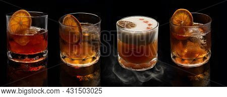 Alcohol cocktails: Whiskey stout sour, smoked negroni, Old fashioned cocktail with orange slice on black background