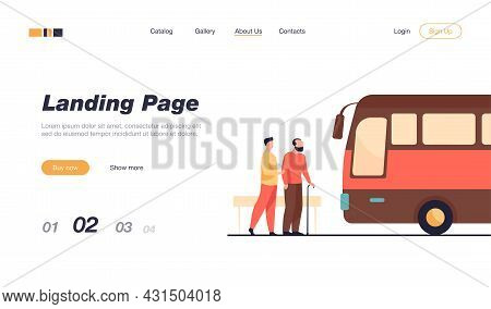 People Waiting For Bus At Bus Stop. Grandfather, Vehicle, Transport Flat Illustration. Transportatio