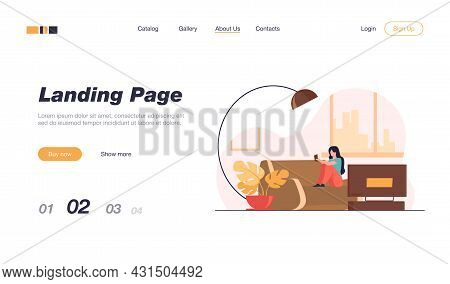 Happy Woman Reading Book At Home. Girl On Couch In Living Room With Tv Flat Vector Illustration. Lei