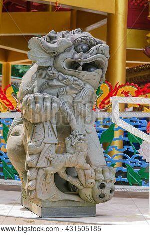 Pixiu Stone Statue Or Lion Statue Of China At Wat Tham Sua, Krabi, Thailand. Chinese Good Wealth Ani