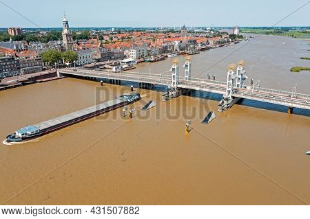 Aerial from the city Kampen in the Netherlands