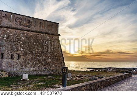 Coastal Fortification, Castle Near The Town Of Los Banos De Guardias Viejas, Almeria Province, Andal