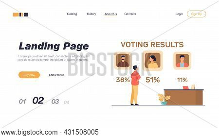 Man Watching Voting Results. Vote, Choice, Percent Flat Vector Illustration. Democracy And Election