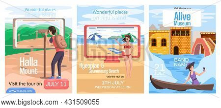 Travel Promotion Posters Set With Tourist Photographing Famous Landmark Of Jeju Island In South Kore
