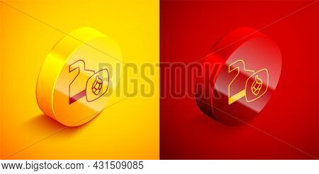 Isometric Traditional Brewing Vessels In Brewery Icon Isolated On Orange And Red Background. Beer Br