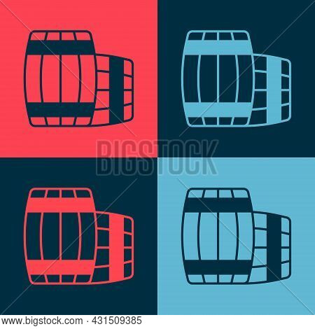 Pop Art Wooden Barrel Icon Isolated On Color Background. Alcohol Barrel, Drink Container, Wooden Keg