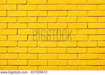 Block Texture Yellow Painted Wall Brick Background Warm Color. Painted Bricks Design Yellow Color Wa
