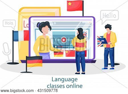 Online Internet Language Courses Flat Vector Illustration. Foreign Speech Study At Home Using Comput