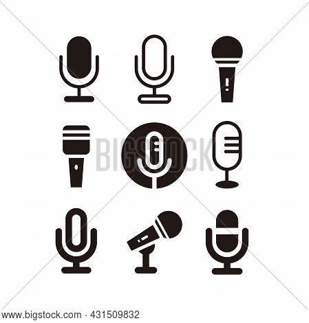 Set Of Simple Flat Microphone Icon Illustration Design, Various Silhouette Mic Symbol Collection Tem