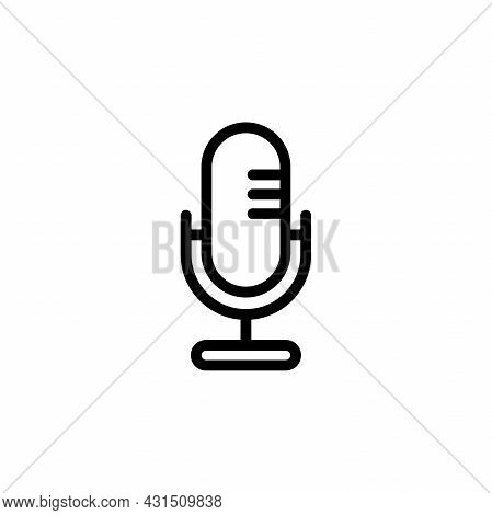 Simple Flat Microphone Icon Illustration Design, Silhouette Mic Symbol With Outlined Style Template