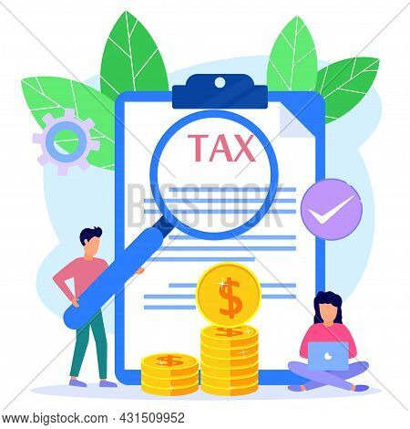 Modern Vector Illustration. The Concept Of Online Tax Payments, People Filling Out Tax Forms, Obedie