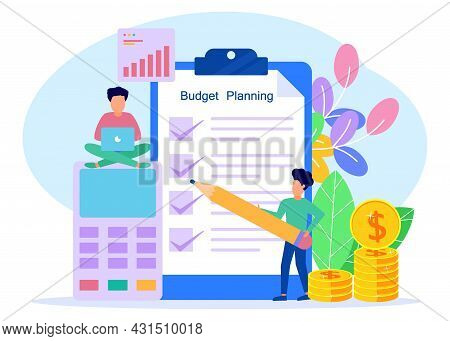 Flat Style Vector Illustration. Budget Planning Concepts, Financial Analysts On Paper Checklists, Ne