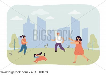 Cartoon Children Running After Dog With Flying Disk In Mouth. Kids Playing With Puppy Outside Flat V