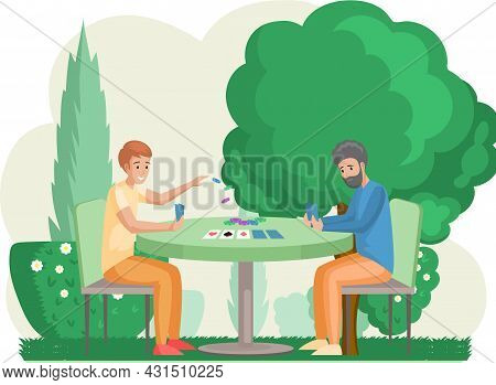 Happy Family Father And Son Or Friends Sitting At Table And Playing Strategy Logical Board Card Game