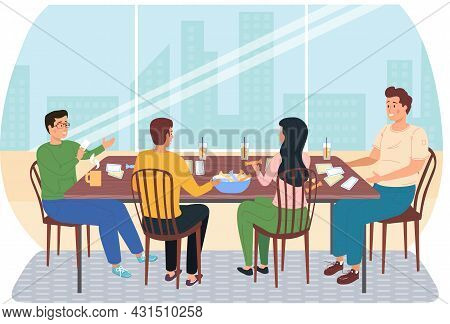People Playing Board Game At Home. Men And Women Friendly Family Or Good Friends With Logic Game On