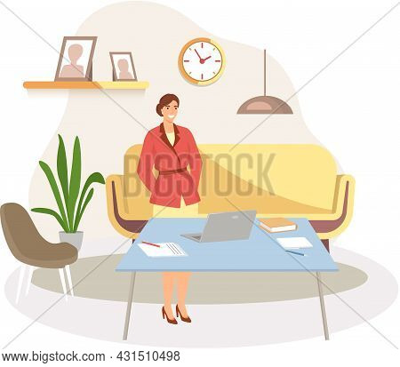 Woman Works In Office Or At Home. Character Working Remotely On Internet And Communicating Through N