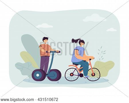 Girl Riding Bicycle And Boy On Electric Personal Transporter. Children On Modern Eco Transport Flat