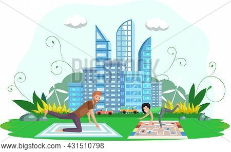 Outdoor Exercise Concept. Woman And Man Friends Exercising, Training Outdoors. Healthy Lifestyle. Yo