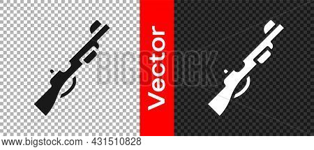 Black Hunting Gun Icon Isolated On Transparent Background. Hunting Shotgun. Vector