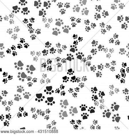 Black Paw Print Icon Isolated Seamless Pattern On White Background. Dog Or Cat Paw Print. Animal Tra