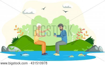 People Playing Poker, Men Sitting By River Resting And Playing Card Game Together On Weekend. Friend