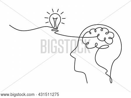 A Human Head With A Brain And A Light Bulb On Are Drawn By One Continuous Line. Human Creativity And